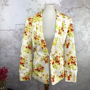 Tahari ASL Red Yellow Floral Print Jacket 10
